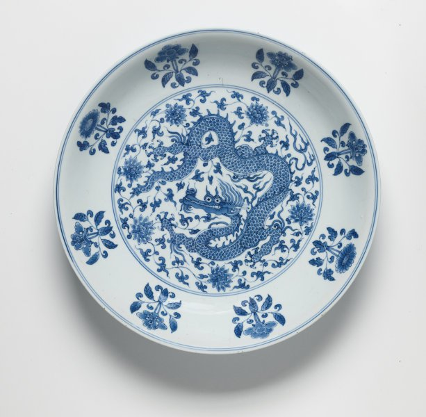 An image of Plate with dragon-among-flowers design