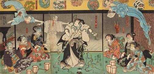 An image of The actor Bandō Hikosaburō IV as Orikoshi Masatomo (C) attacked by the ghost of Asakura Tōgo played by Ichikawa Kodanji IV by Utagawa Kuniyoshi