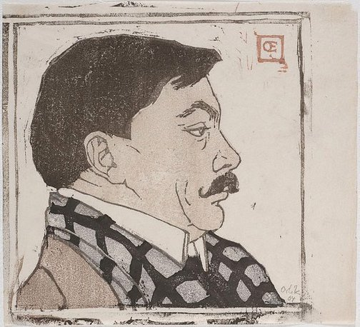 An image of Profile portrait of a man with a moustache by Emil Orlik