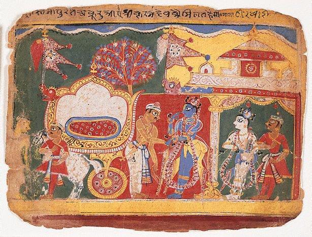 An image of Akura, having returned from Hastinapura, meets with the blue-skinned Krishna and his companions Balarama and Uddhava