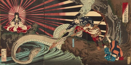 An image of Nitta no Shiro Tadatsune encountering the Goddess of Mount Fuji and her dragon in a cave in Mount Fuji by Shirai Toshinobu II