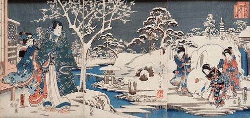 An image of Garden in snow by Utagawa Kunisada, Hiroshige Andô/Utagawa