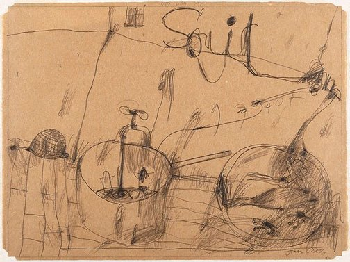 An image of Drawing for soft - ground etching 'Kitchen story' by John Olsen
