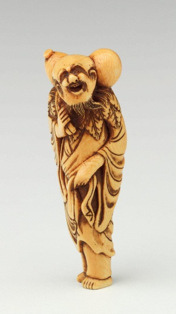 An image of Netsuke in the form of Chôkarô 'sennin' carrying a gourd