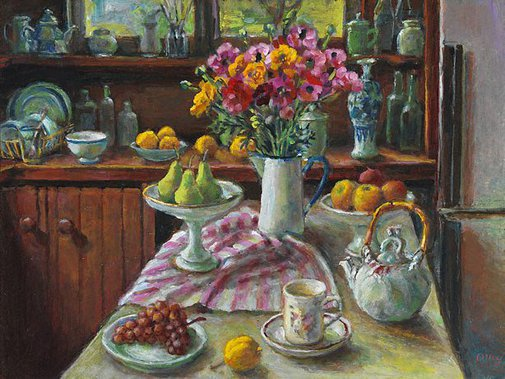 An image of Ranunculus and pears by Margaret Olley