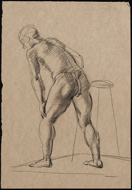 An image of Male nude viewed from behind, with left hand leaning on left knee, London by Nora Heysen