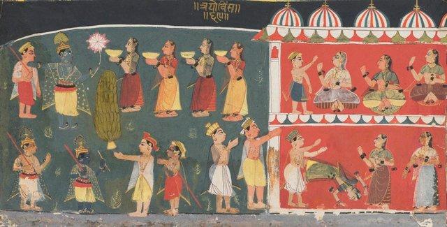 An image of Gopis approach Krishna