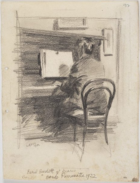 An image of Basil Burdett at the piano by Lloyd Rees