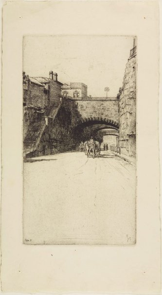 An image of Argyle Cut from the west by Sydney Ure Smith