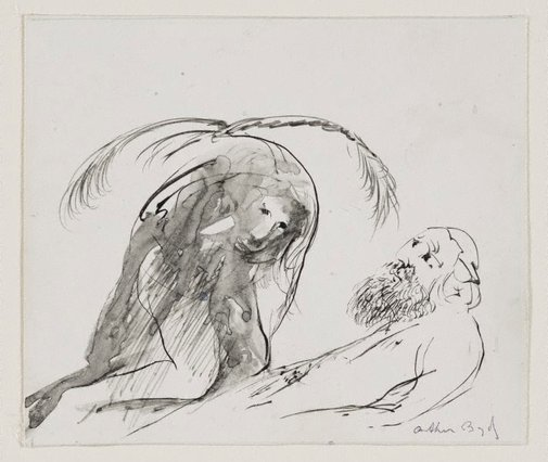 "An image of (Drawing for cover of D J Enright ""Paradise illustrated"") by Arthur Boyd"