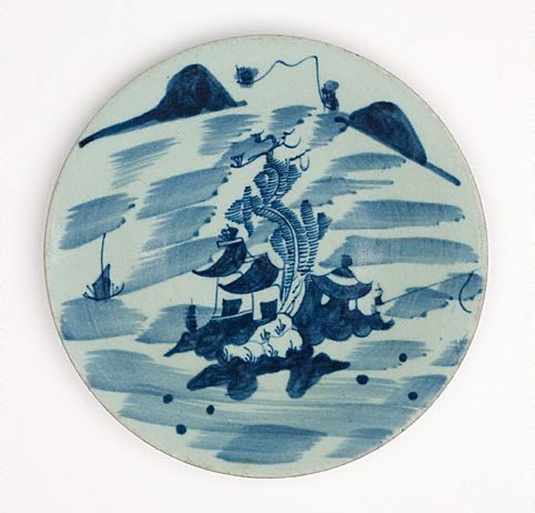 An image of Kitchen Qing dish with landscape design by Export ware