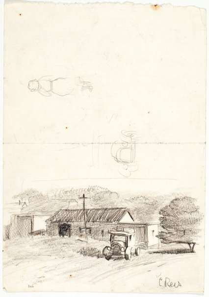 An image of recto: Farmhouse and truck, Studies of truck and a woman verso: Man drawing beside a gateway to a house by Lloyd Rees