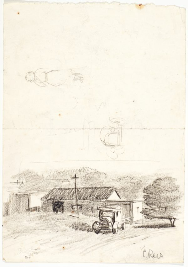 An image of recto: Farmhouse and truck, Studies of truck and a woman verso: Man drawing beside a gateway to a house