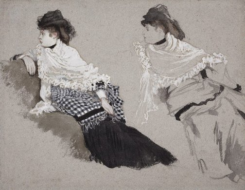 An image of Two studies of a woman by James Tissot
