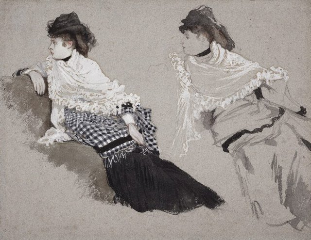 An image of Two studies of a woman