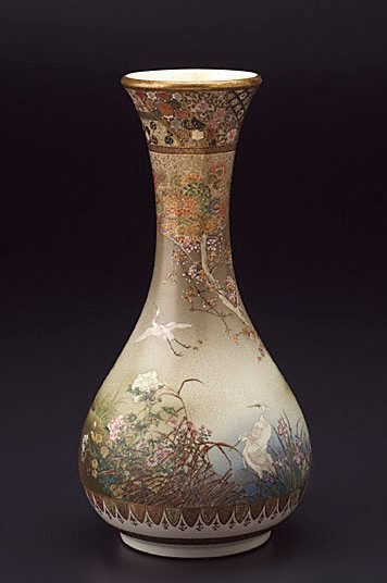 An image of Vase with design of birds and flowers by Kinkôzan SôbeeVII
