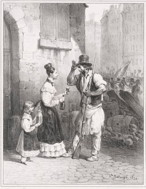 An image of Only some watered wine, little mother by Hippolyte Bellangé