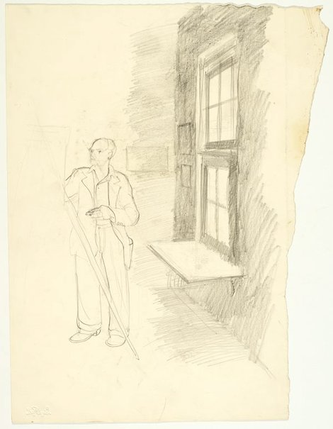 An image of recto: George Lawrence at easel in a studio verso: George Lawrence by Lloyd Rees
