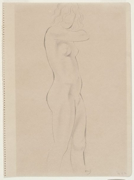 An image of Standing nude, in profile right by Eric Gill