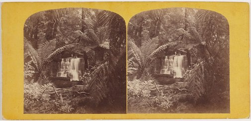 An image of Waterfall, Fern Tree Valley, Mount Wellington, Hobart Town by Samuel Clifford