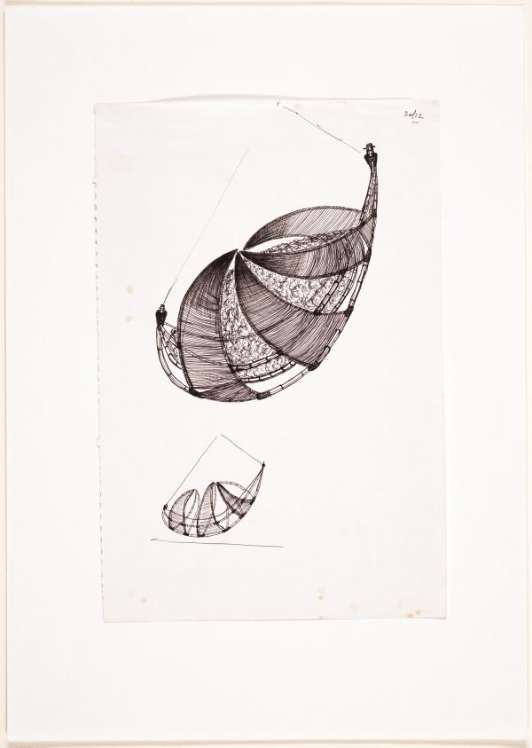 An image of (Two studies of a suspended boat form)