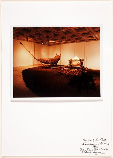 An image of Bird boat: egg raft. 3 installations AGNSW by Ross Mellick, Unknown