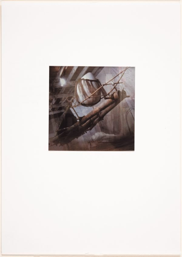 An image of Raft song at sunrise (detail of raft in studio without supporting platform)