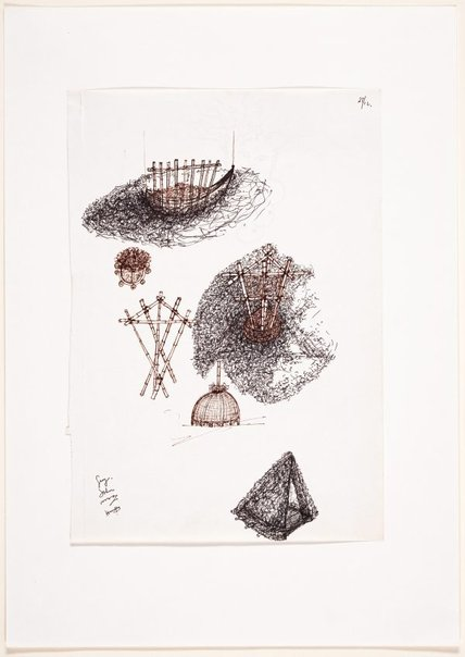 An image of (Studies of yurt and boat forms, with head study on verso) by Ross Mellick