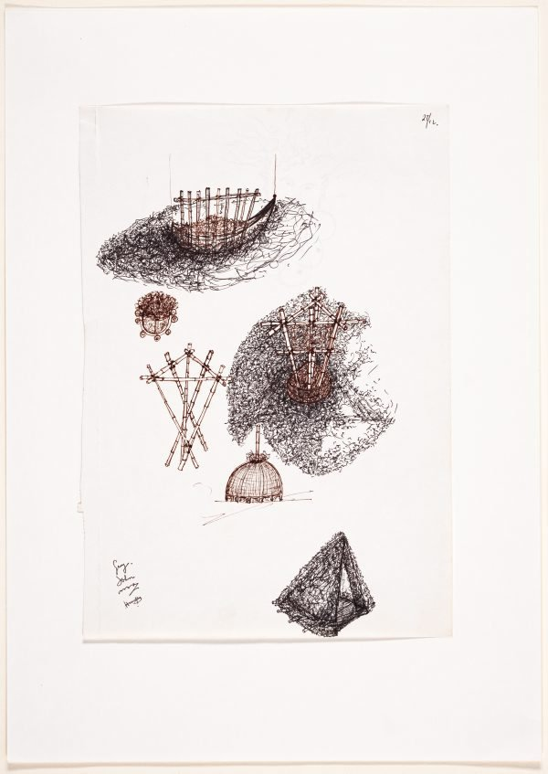 An image of (Studies of yurt and boat forms, with head study on verso)