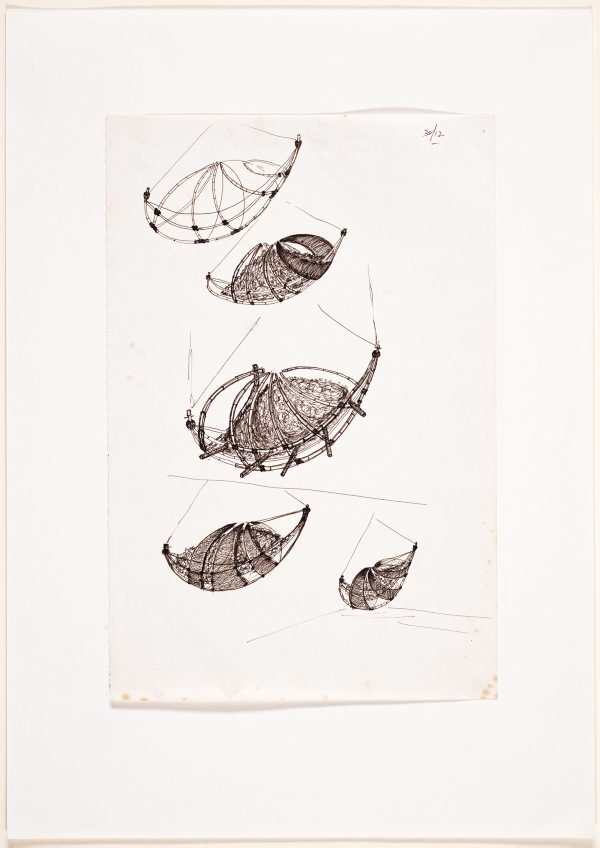 An image of (Studies of a suspended boat form)