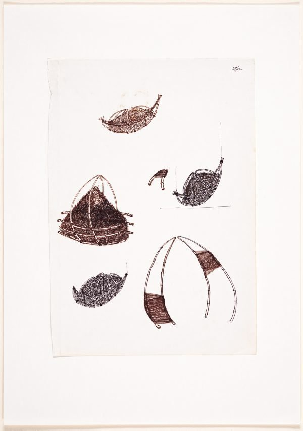 An image of (Studies of boat and yurt form)