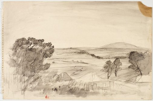 An image of recto: Houses in rolling landscape verso: Studies of a woman by Lloyd Rees