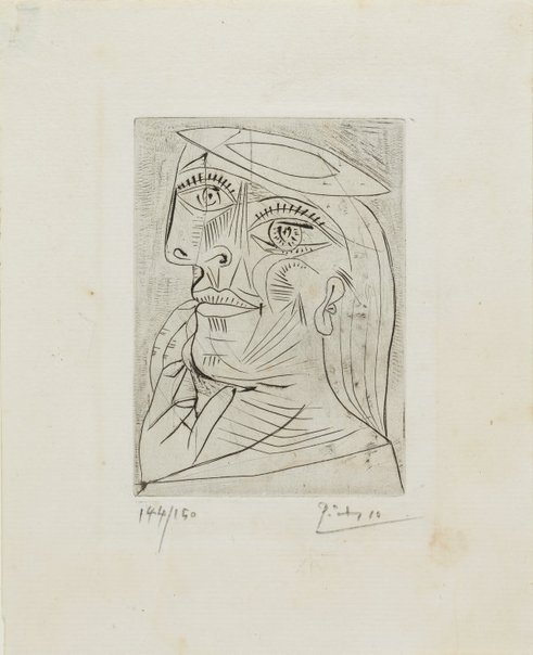 An image of Head of a woman in profile, with beret by Pablo Picasso