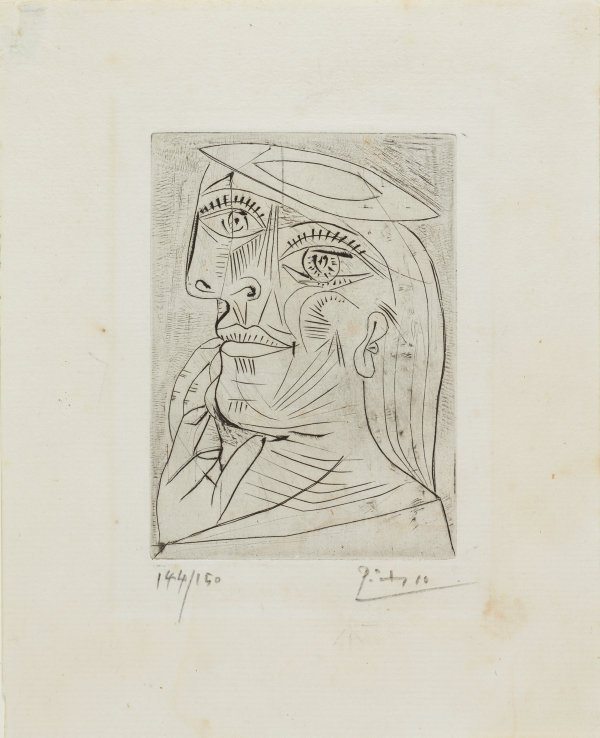 An image of Head of a woman in profile, with beret