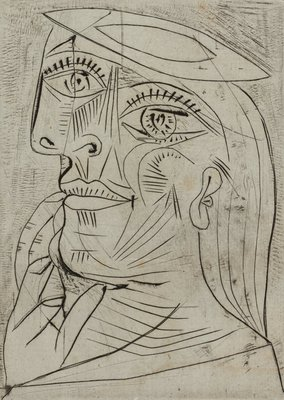 Alternate image of Head of a woman in profile, with beret by Pablo Picasso