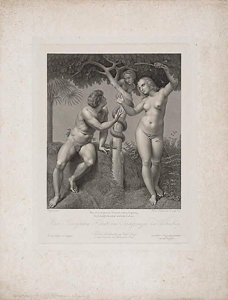 An image of Adam and Eve by Friedrich Müller, after Raphael