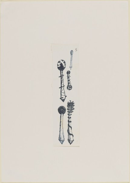 An image of (Studies of impaled, bound, bandaged tree forms) by Ross Mellick