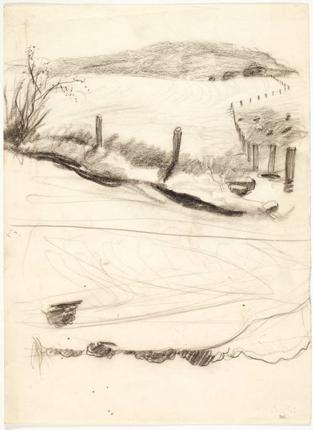 An image of recto: Landscape with fence posts verso: Country road and Landscape sketch by Lloyd Rees