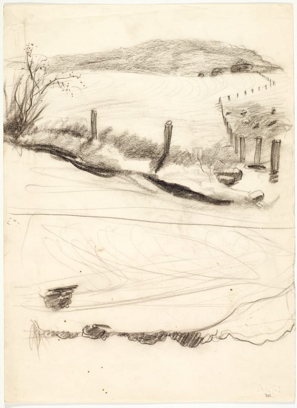 An image of recto: Landscape with fence posts verso: Country road and Landscape sketch