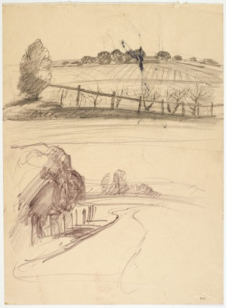 An image of recto: Ploughed field and Roadway verso: Tree, road and house by Lloyd Rees