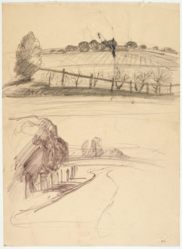 An image of recto: Ploughed field and Roadway verso: Tree, road and house