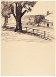 Alternate image of recto: Ploughed field and Roadway verso: Tree, road and house by Lloyd Rees