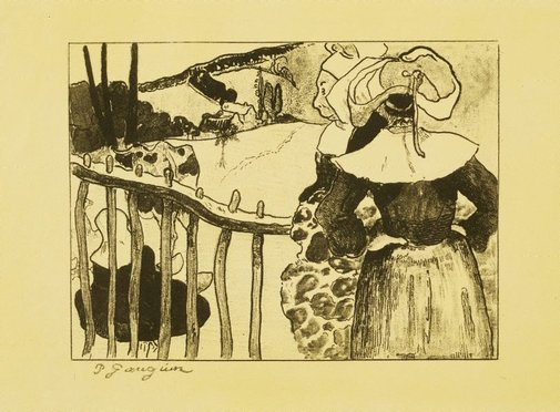 An image of Breton women at a fence by Paul Gauguin