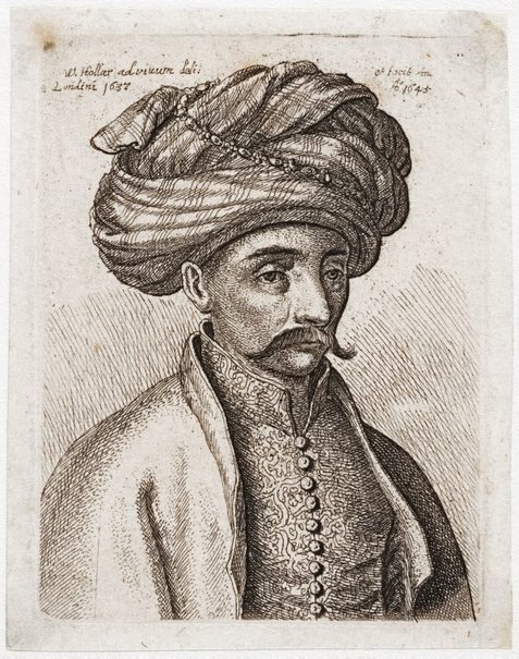 An image of (Man in oriental dress with turban, from life) by Wenceslaus Hollar
