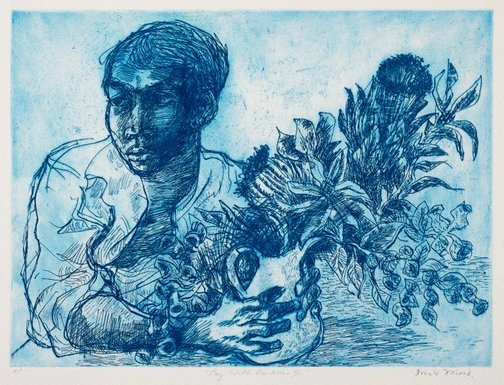 An image of Boy with banksias II by Donald Friend