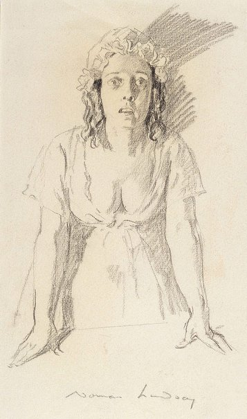 An image of Study for female figure in 'Bow Street Runners' by Norman Lindsay