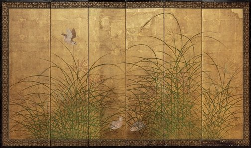 An image of Quails and pampas grass by Tosa School