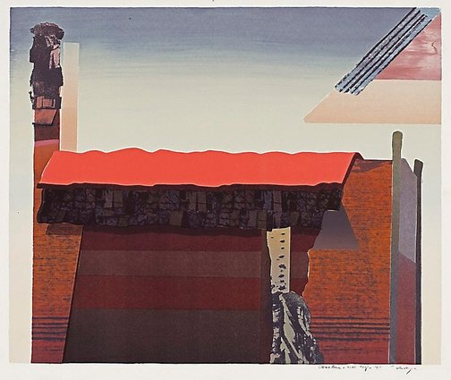 An image of Structure, red roof by Jan Senbergs