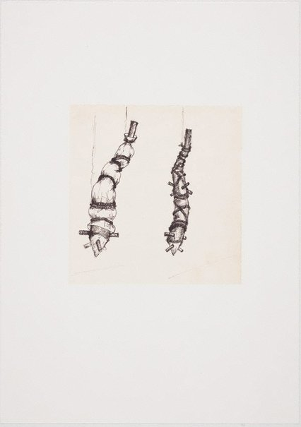 An image of (Two suspended, impaled and bound tree trunk forms) by Ross Mellick