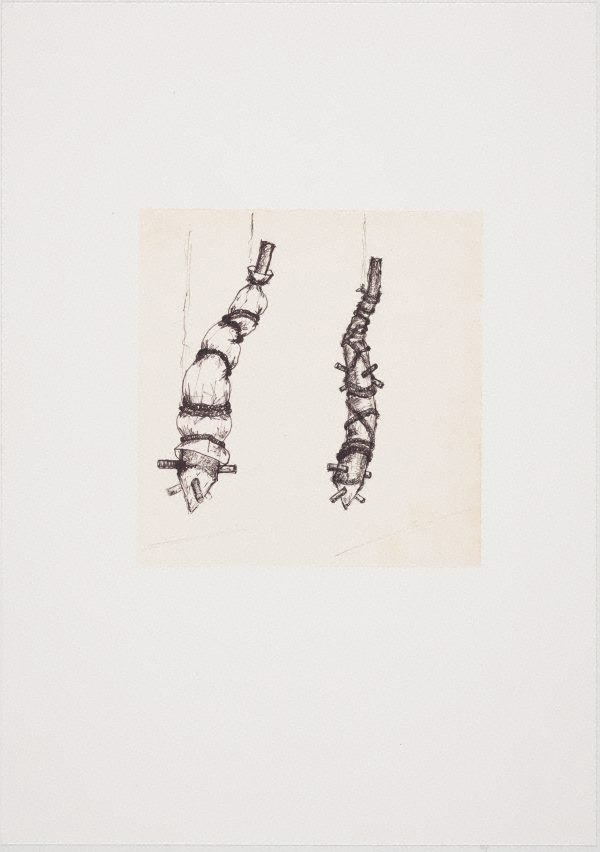 An image of (Two suspended, impaled and bound tree trunk forms)